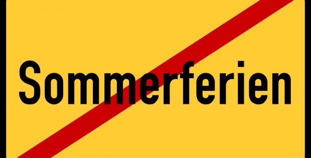 Ortsausgangsschil Sommerferien